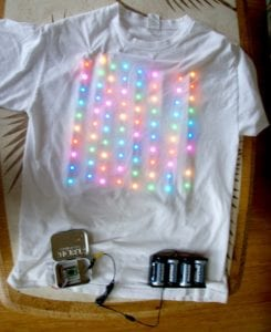 Tee shirt with colored electric lights